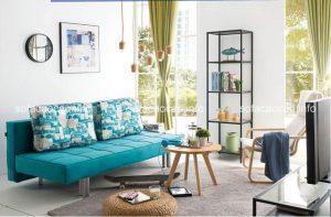 Kết hợp sofa giường đa năng với hai dáng bàn trà phổ biến
